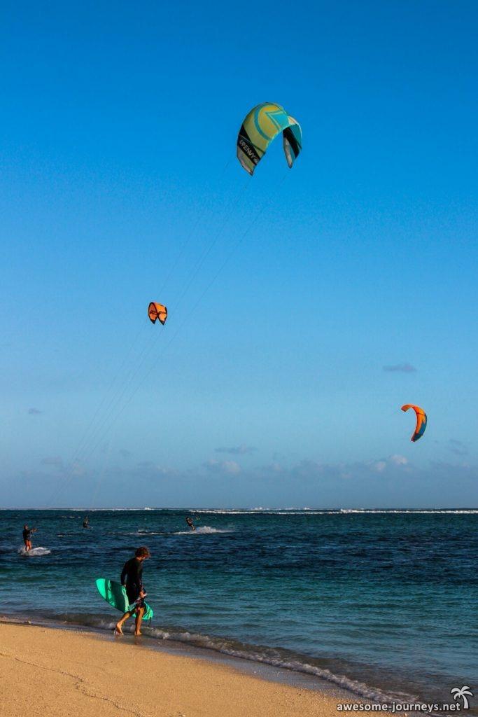 Kitesurfen ist bei Le Morne sehr beliebt