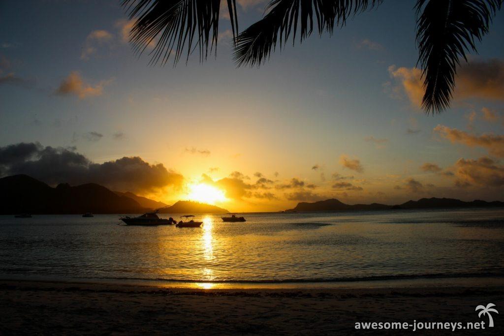 Sonnenuntergang am Anse Gouvernment