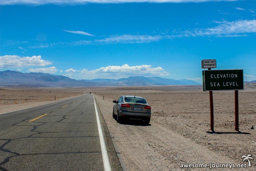 Punkt unterhalb des Meeresspiegels im Death Valley