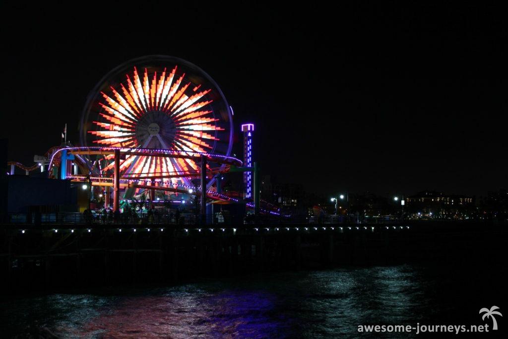 Nachts am Santa Monica Pier