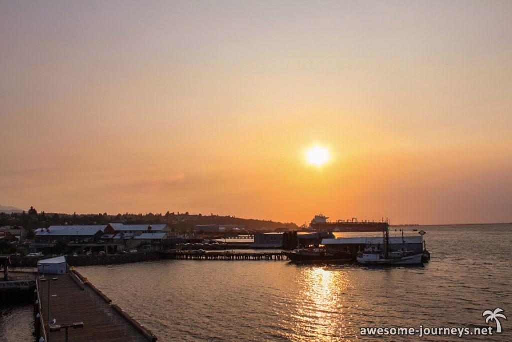 Sonnenuntergang am Hafen von Port Angeles